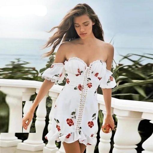 Weißes kurzes Hippie Kleid mit Blumen